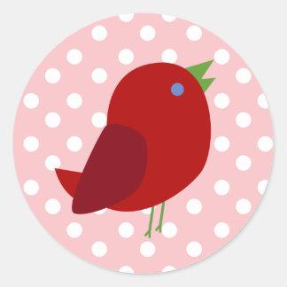 Cute Retro Red Bird with Polka Dots Round Sticker
