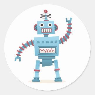 Cute retro robot android kids cartoon classic round sticker