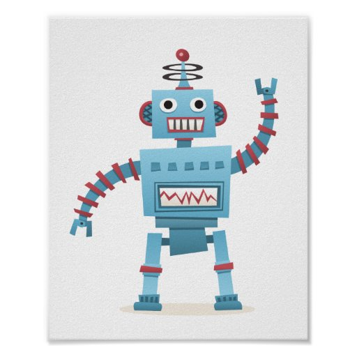 Cute retro robot android kids cartoon wall art posters