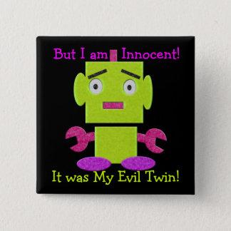 Cute Retro Robot - Ghoul Green - Evil Twin 2 Inch Square Button