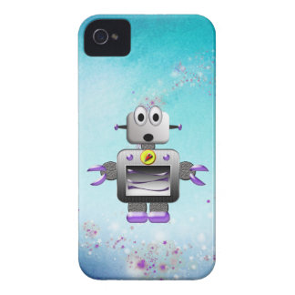 Cute Retro Robot Purple & Blue iPhone 4 Case