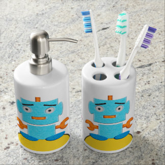 Cute Retro Robots Soap Dispenser And Toothbrush Holder