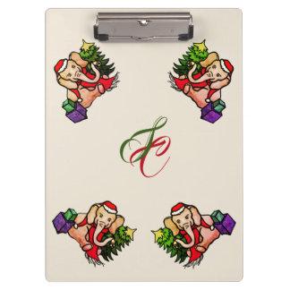 Cute Retro Santa Elephants with Monogram Christmas Clipboard