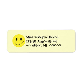 Cute Retro Smiley Face Grins Return Address Labels