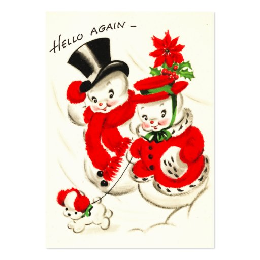 Cute Retro Snow Couple Name Tags Business Card