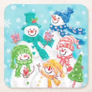 Cute Retro Snowman Christmas Square Paper Coaster
