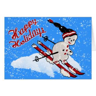 Cute Retro Snowman Skier - Happy Holidays Card