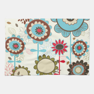 Cute retro turquoise blue floral pattern custom kitchen towel