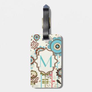 Cute retro turquoise blue floral pattern monogram bag tag