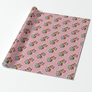 Cute Retro Valentines Girl Wrapping Paper