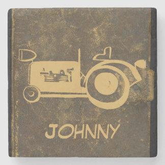 Cute Retro Vintage Artwork Tractor Stone Coaster