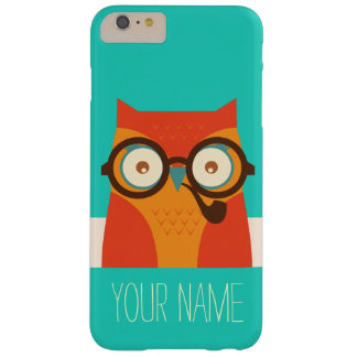 Cute Retro Vintage Funny Owl Monogram Barely There iPhone 6 Plus Case