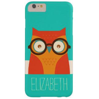 Cute Retro Vintage Owl Monogram Barely There iPhone 6 Plus Case
