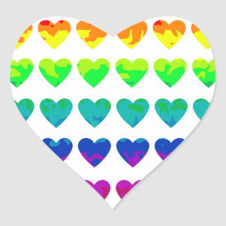 Cute retro wild rainbow hearts on white stickers