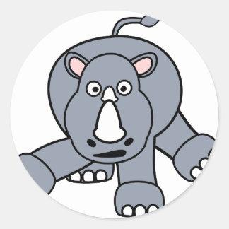 Cute Rhino Design Round Sticker