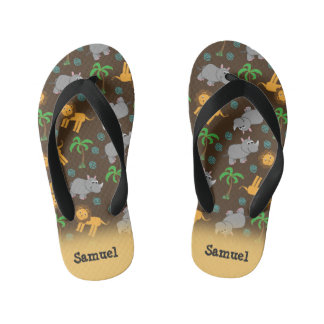 Cute Rhino, Lion, and Palm Trees Personalized Kid's Flip Flops