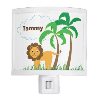 Cute Rhino, Lion, and Palm Trees Personalized Night Lites