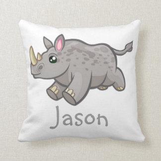 Cute Rhino Wildlife Jungle Animal Kids Name Pillow