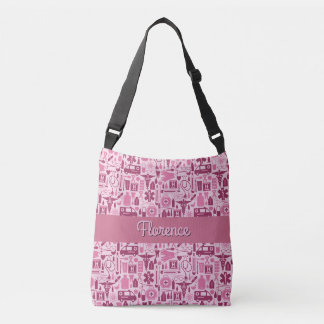 Cute RN Nurse LPN Nursing Pink Pattern Name Crossbody Bag
