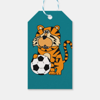 Cute Roaring Tiger Playing Soccer Cartoon Art Gift Tags