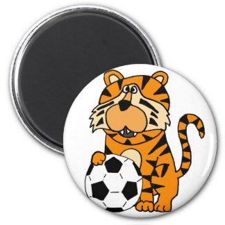 Cute Roaring Tiger Playing Soccer Cartoon Art Magnet