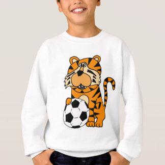 Cute Roaring Tiger Playing Soccer Cartoon Art Sweatshirt