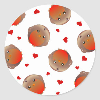 Cute Robin and Red Hearts Design Classic Round Sticker