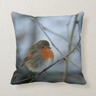 Cute Robin red breast bird photo Throw Pillow