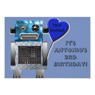 Cute Robot Birthday Card Invitation Customize It!