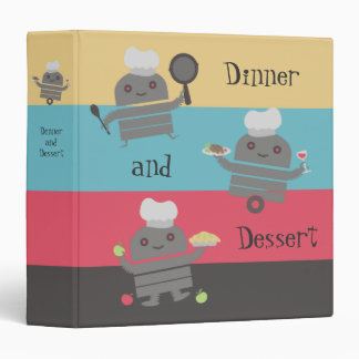 cute robot chef cooking baking recipe binder