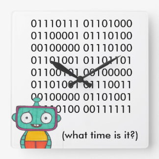 Cute Robot Clock - Binary
