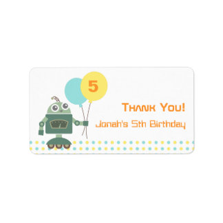 Cute Robot Kids Birthday Party Favor Labels