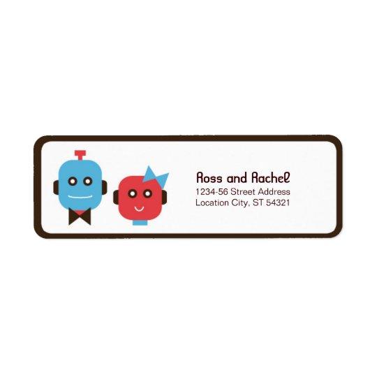 Cute Robot Theme Wedding Return Address Label