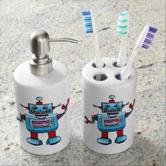 Cute robot toy bathroom set