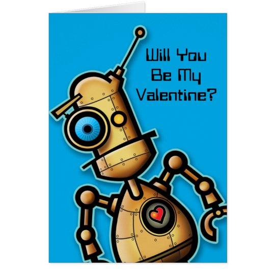 Cute Robot Valentine Card