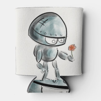 Cute Robot with a flower Can Cooler