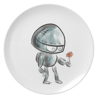 Cute Robot with a flower Plates