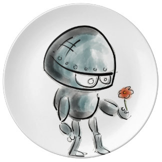 Cute Robot with a flower Porcelain Plate