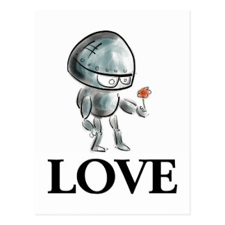 Cute Robot with a flower Postcard