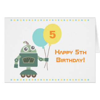 Cute Robot with Balloons Kids Happy Birthday Cards