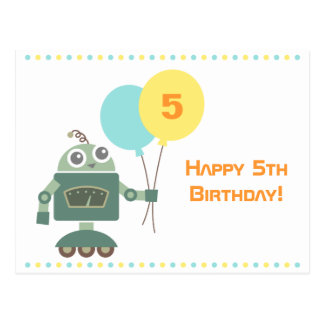 Cute Robot with Balloons Kids Happy Birthday Post Cards
