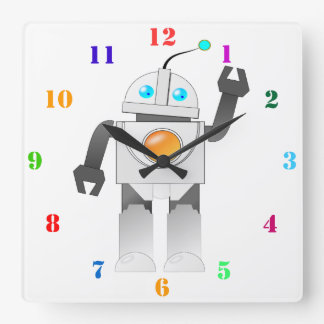 CUTE ROBOT WITH COLORFUL NUMERALS SQUARE WALL CLOCK