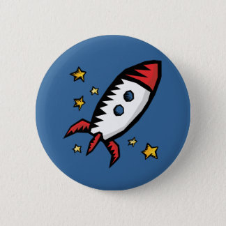 Cute Rocket 2 Inch Round Button