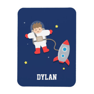 Cute Rocket Ship Outer Space Astronaut For Kids Rectangular Photo Magnet