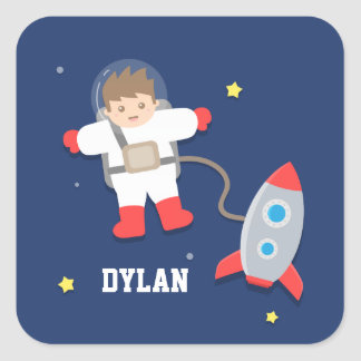 Cute Rocket Ship Outer Space Astronaut For Kids Square Sticker