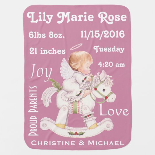 Cute Rocking Horse Personalized Baby Angel Blanket Baby Blankets