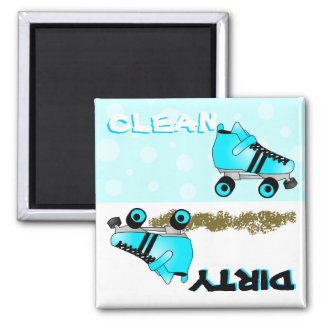 Cute Roller Skate Blue Clean Dirty Dishwasher Square Magnet