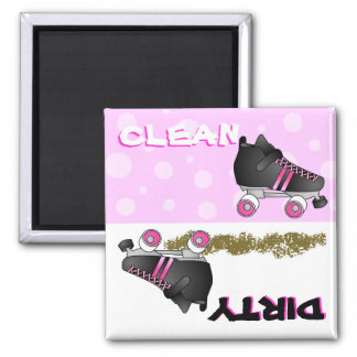 Cute Roller Skate Pink Clean Dirty Dishwasher Magnet
