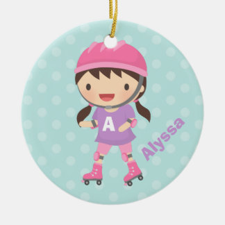 Cute Roller Skater Girl in Pink and Purple Ceramic Ornament