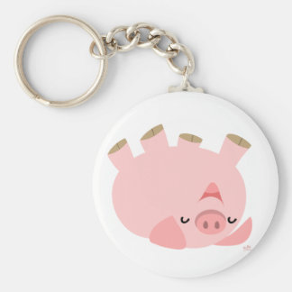 Cute Rolling Over Cartoon Pig Keychain